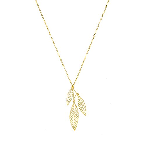 (14k Yellow Gold Falling Leaves Pendant Necklace, Adjustable 16