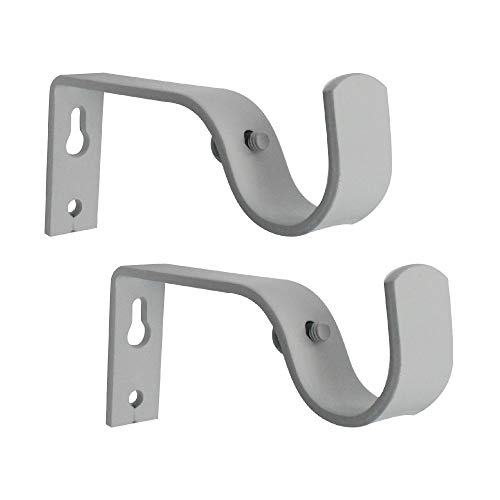 GB HOME COLLECTION gbHome GH-6753W Curtain Rod Brackets, White, Set of 2, Premium Steel Cafe Rod Bracket for Walls, Curtain Rod Holder from GB HOME COLLECTION