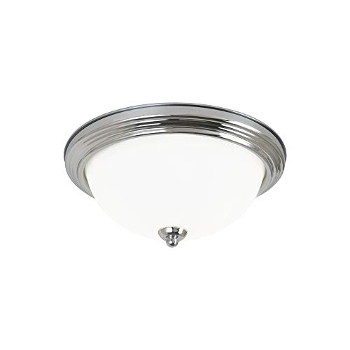 Seagull 77064-05 Two 77064-05-Two Light Ceiling Flush Mount, Chrome