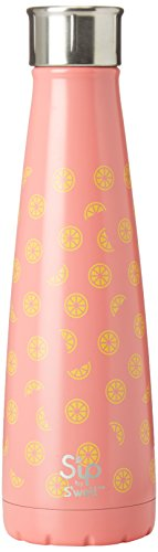 S'ip by S'well Vacuum Insulated Stainless Steel Water Bottle, Double Wall, 15 oz, Lemon Drop