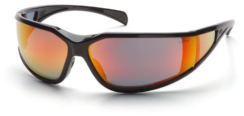 Pyramex SB5155DT Exeter Safety Glasses Blk Frame w/Sky Red Mirror Lens (12 Pair) (Safety Pyramex Glasses Exeter)