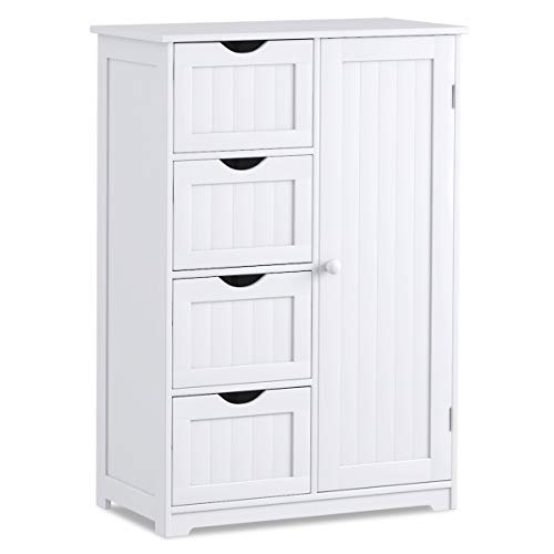 Giantex Bathroom Floor Cabinet Wooden with 1 Door & 4 Drawer, Free Standing Wooden Entryway Cupboard Spacesaver Cabinet, White (Kitchens With Dark Cabinets And Wood Floors)
