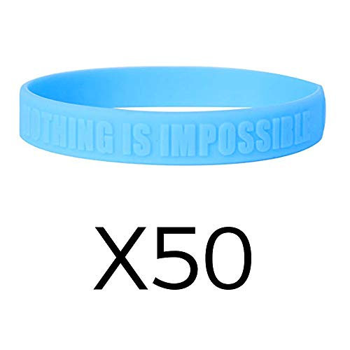 (GOMOYO Exceed Your Own Expectations Sports Silicone Wristband - Embossed Wholesale (Light Blue, 50 Pack))
