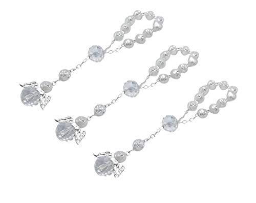 ptism Favors with Angels Mini Rosaries Silver Plated Acrylic Beads/Recuerditos De Bautismo/Christening Favors/Decenarios/Decades/Finger Rosaries ()