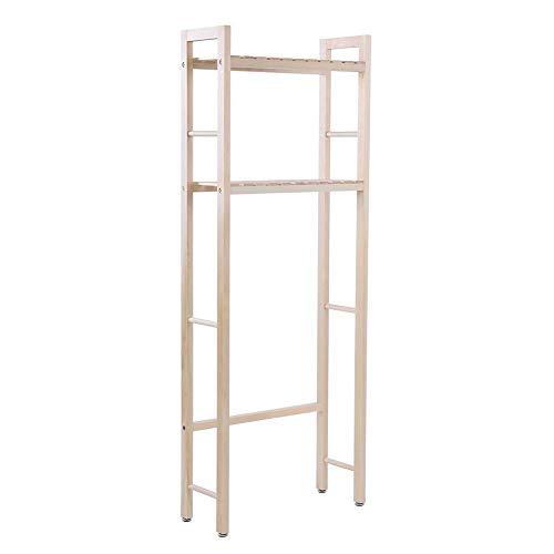 ROBTLE Over The Toilet Shelf, 2-Tier Floor Shelves Towel Bamboo Rack Holder Bathroom Storage Cabinet Wood Space Saver Organizer