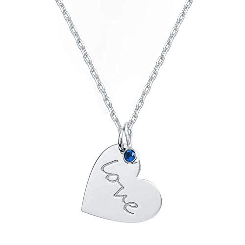 PAVOI 14K White Gold Plated Heart Necklace with Swarovski Love Charm Pendant | White Gold Necklaces for Women