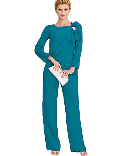 The Peachess Mother of The Bride Pant Suits Long Sleeve Wedding Guest Two Pieces Groom Mother Outfit