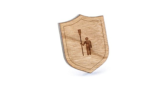 (Rower Lapel Pin, Wooden Pin and Tie Tack | Rustic and Minimalistic Groomsmen Gifts and Wedding Accessories)