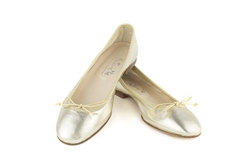 A Ballerinemie Fatte In Donna Italia Ballerine Lucile Mano Laminato Oro platino IXwpqAXHr