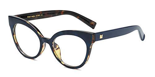 chat Femmes Mode à Bleu Lunettes Oeil Lentille verres Claire transparents Vintage Lunettes Dintang Dames Rétro de XwSnXd0