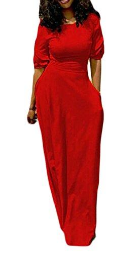 Vestito Lungo Solido Manica Rosso Corta Sottile Jaycargogo Con Tasca Casuale Donne HxW5Zwwqa