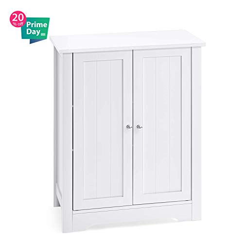 - AOOU Bathroom Floor Cabinet, Storage Cabinet for Bathroom with Double Door Adjustable Shelf, Free Standing Storage Cabinet, White