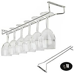 Under Cabinet Wine Glass Rack, gloednApple Stainless Steel Wine Rack Glass Holder Hanging Hanger Chrome Stemware Holder for Bar Kitchen (55cm/21'')