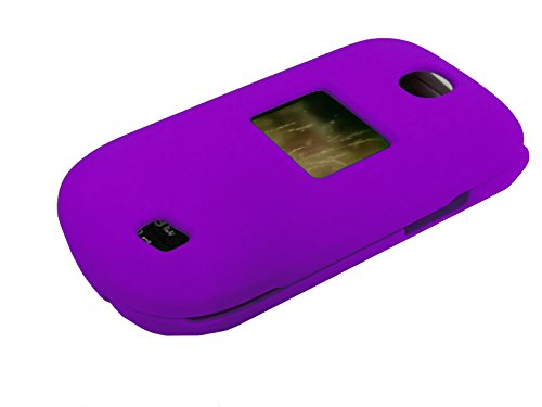 For LG Revere 3 VN170 Envoy 3 UN170 Hard Snap on Protector Phone Cover Case + Happy Face Phone Dust Plug (Purple)