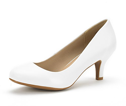 (DREAM PAIRS Women's Luvly White Pu Bridal Wedding Low Heel Pump Shoes - 8 M US)