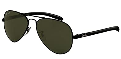 ray ban aviator black  ray ban aviator carbon fibre rb8307 002 n5 58 14 sunglasses pilot shape black frame crystal polar green solid lenses