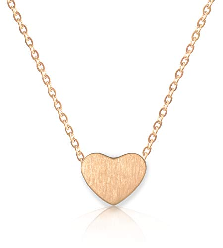 "Altitude Boutique Heart Necklace for Women 18kt Gold Rose Gold or Silver PlateChoker or Long Necklace Friendship Dainty Womens Adjustable 15"" 16"" 17"" 18"" (Rose Gold) from Altitude Boutique"