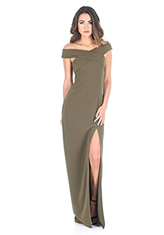 AX Paris Women's Cross Front Bardot Maxi Dress With Thigh High Split(Khaki, Size:14) (Leg Split Dress)
