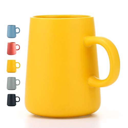 - JYYT Frosted Ceramic Cup Coffee Cup Mug Tea Cup for Office and Home Perfect Gift,Maximum Capacity 13.5oz (yellow)