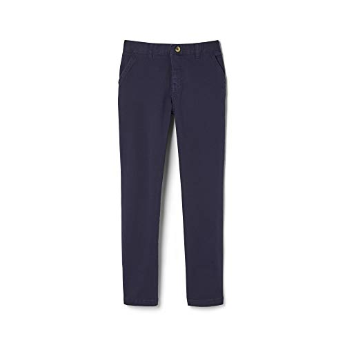 French Toast Boys' Little Adjustable Waist Stretch Straight Fit Chino Pant (Standard & Husky), Navy, 7