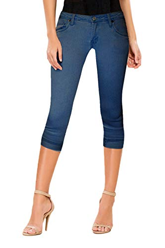 (HyBrid & Company Women's Perfectly Shaping Stretchy Denim Capri-Q22884X-MEDIUM BLU-14)