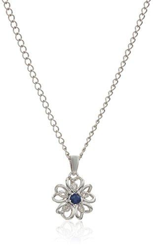 Blue Sapphire Flower (Sterling Silver Genuine Blue Sapphire Flower Pendant Necklace, 18