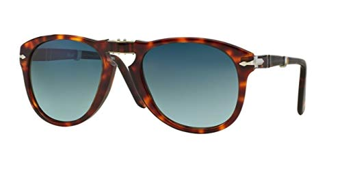 Persol Men's Havana Classic Sunglasses, Havana/Crystal Blue Gradient, One ()