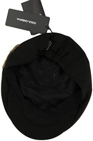 Dolce /& Gabbana Black Crystal Amore Bee Applique Hat