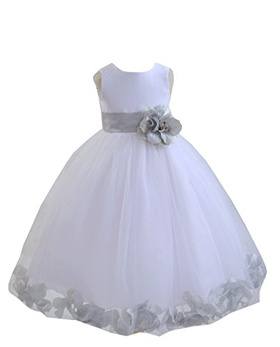 EkidsBridal White Floral Rose Petals Flower Girl Dress Birthday Girl Dress Junior Flower Girl Dresses 302s 6 (Satin Dress White Tulle Petals)