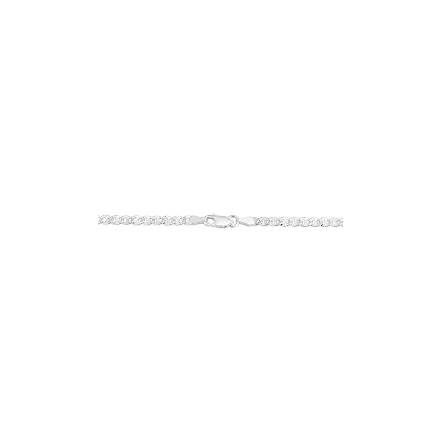 Sterling Silver Diamond Cut 3.5mm Mariner Anklet (10 inch)