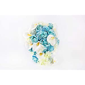 Abbie Home Light Blue Calla Lily White Dahlia Cascading Bridal Bouquets - Silk Flowers for Beach Wedding with Ribbon and Lace Décor (A Cascading Bouquet) 3