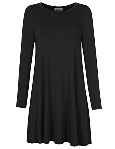 MISSKY Women's Round Neck Plain Long Sleeve Knee lenght T Shirt Loose Casual Dress Black XL
