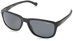 Arnette Straight Cut Unisex Polarized Sunglasses - 41/81 Gloss Black/Grey