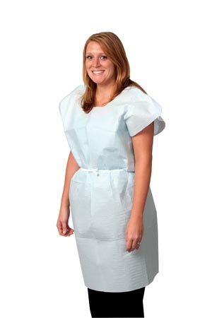 Pro Advantage P750033 Exam Gown, Tissue/Poly/Tissue, 30'' x 42'', Blue, Traditional Front/Back Opening (Pack of 50)