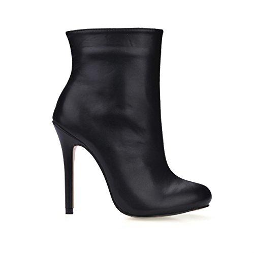 De Estrecha De Tacones Cremallera El Aguja De Sobre para Botas Suela De Otoño Mujer Negro El De Tobillo Punta Terciopelo Otoño Invierno Goma Invierno Zapatos con 12CM Elástico dqfBwS