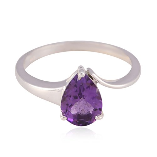 RGPL-Nice Gemstone Pear Faceted Amethyst Ring - 925 Sterling Silver Purple Amethyst Nice Gemstone Ring - Highest Jewelry Good Item Gift for Halloween Hammered Ring ()