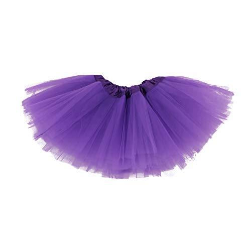 belababy Baby Girl Tutu 5 Layers Tulle Halloween Dress Up Skirt (Dark Purple, 0-24 Months) -