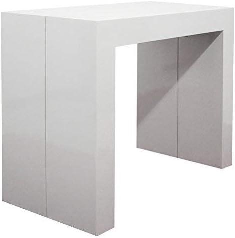 Mesa consola extensible lacada en blanco mate de 3 metros (45 x 95 ...