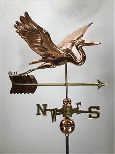 East Coast Weathervanes Deluxe Copper Blue Heron Weathervane with Arrow - Polished Copper (Blue Heron with - Weathervane Arrow Blue