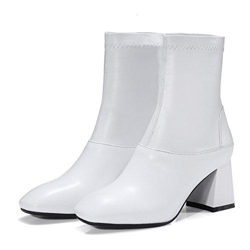 Botines Las White corto mujeres's con Square bloque tacones plataforma amp;X de zapatos QIN Toe OnRw65zH6q