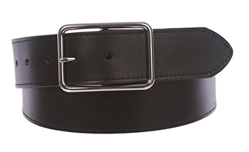 Snap On Cowhide Full Grain Stitching-Edged Leather Belt with Rectangular Buckle Size: 34 Color: Black