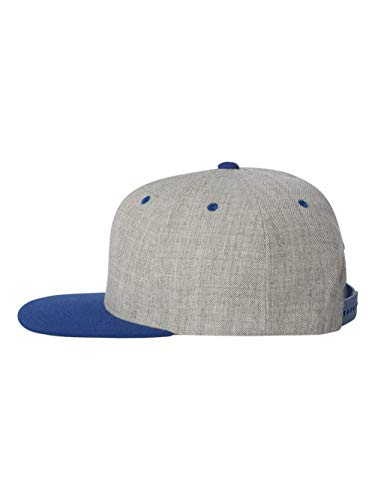 6089M Classic Snapback Pro-Style Wool Cap by Flexfit, Heather/Royal, One ()