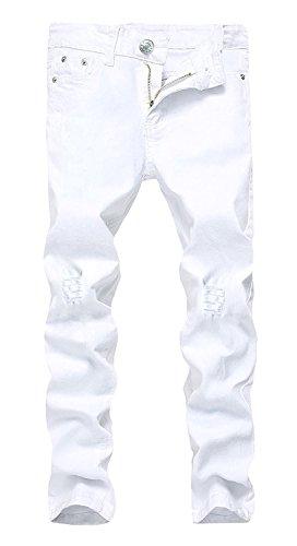 JOSONEY Boy's Slim Fit Skinny Ripped Distressed Stretch Fashion Jeans Denim Pants with Holes White Size ()