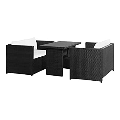 HEATAPPLY Outdoor Furniture Set, 3 Piece Garden Lounge Set with Cushions Poly Rattan Black