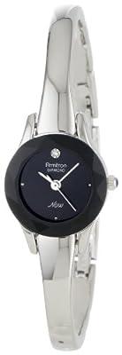 Armitron Women's 75/2433BLK Diamond-Accented Silver-Tone Bangle Watch