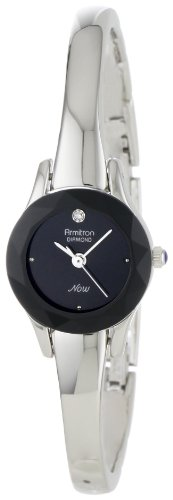 Armitron Women's 75/2433BLK Diamond-Accented Silver-Tone Bangle Watch