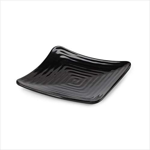 (OKSLO Milano 6 inch square plate black melamine/case of 12)