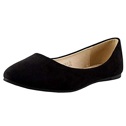 Bella Marie Angie-53 Women's Classic Pointy Toe Ballet Slip On Suede Flats, MVE Shoes Kreme Black PU 7.5