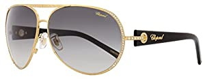 Chopard Aviator Sunglasses SCH940S 383F Semi-Shiny Gold/Black 940