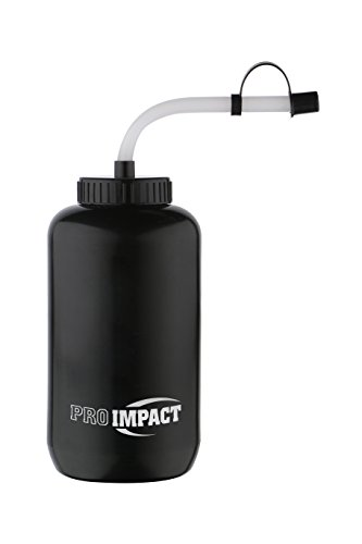 Pro Impact Boxing Water Bottle - Squeezable Plastic w/Long Straw - Ideal for Baseball Gym Yoga Sports Boxing Lacrosse Cycling Outdoors Football Hockey (35.5 Oz.) (Black)